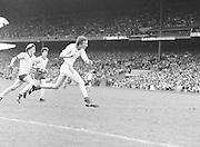 Dublin mid air as he runs towards the ball during the Dublin v Down All Ireland Minor Gaelic Football Final in Croke Park on the 20th of August 1978.