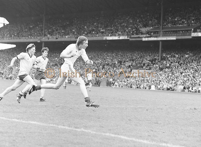 Dublin mid air as he runs towards the ball during the Dublin v Down All Ireland Minor Gaelic Football Final in Croke Park on the 20th of August 1978.