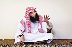 """Fouad Belkacem, a.k.a. Abu Imran, an Islamic extremist who is spearheading the movement """"Sharia4Belgium"""", shares his views during an interview, at his headquarters in Antwerp, Belgium, on Tuesday, April 3, 2012. (Photo © Jock Fistick)"""