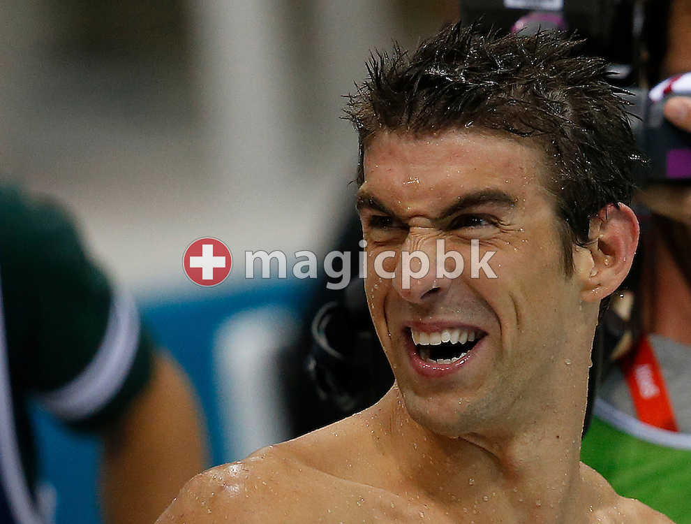 Michael Phelps of the United States of America (USA) reacts after competing in the men's 4x100m Medley Relay Final during the Swimming competition held at the Aquatics Center during the London 2012 Olympic Games in London, Great Britain, Saturday, Aug. 4, 2012. (Photo by Patrick B. Kraemer / MAGICPBK)