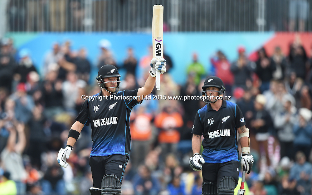 Corey Anderson acknowledges his 50 during the ICC Cricket World Cup match between New Zealand and Sri Lanka at Hagley Oval in Christchurch, New Zealand. Saturday 14 February 2015. Copyright Photo: Andrew Cornaga / www.Photosport.co.nz