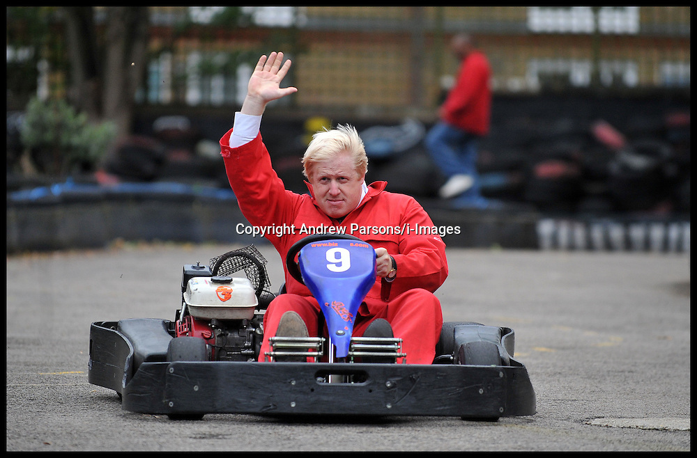 Boris Johnson The Mayor of London has a go at Go-Karting at a project in Brixton to make a major announcement on the next phase of his ambitious volunteering programme Team London, at the Oasis Children's Venture, London, Monday October 10, 2011. Photo By Andrew Parsons/ i-Images