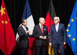 14.07.2015, Austria Center, Wien, AUT, Einigung bei E3/ EU+3 - Iran Gespraeche (Frankreich, Deutschland, Vereinigtes Koenigreich, China, Russland und USA), im Bild v.l.n.r. Außenminister China Wang Yi, AM Frankreich Laurent Fabius und AM Deutschland Frank- Walter Steinmeier // f.l.t.r. Foreignminister of China Wang Yi, Foreignminister of France Laurent Fabiusand  Foreignminister of Germany Frank-Walter Steinmeier during aggreement of P5+1 - Iran Talks (France, Germany, United Kingdom, China, Russia and USA) at Austria Centre in Vienna, Austria on 2015/07/14, EXPA Pictures © 2015, PhotoCredit: EXPA/ Michael Gruber