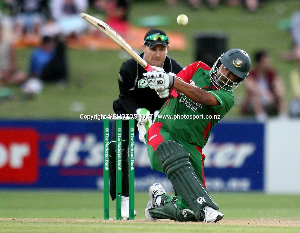 Tamim Iqbal plays a shot.. New Zealand Black Caps v Bangladesh. 1st ODI. McLean Park, Napier. Friday 05 February 2010  Photo: John Cowpland/PHOTOSPORT