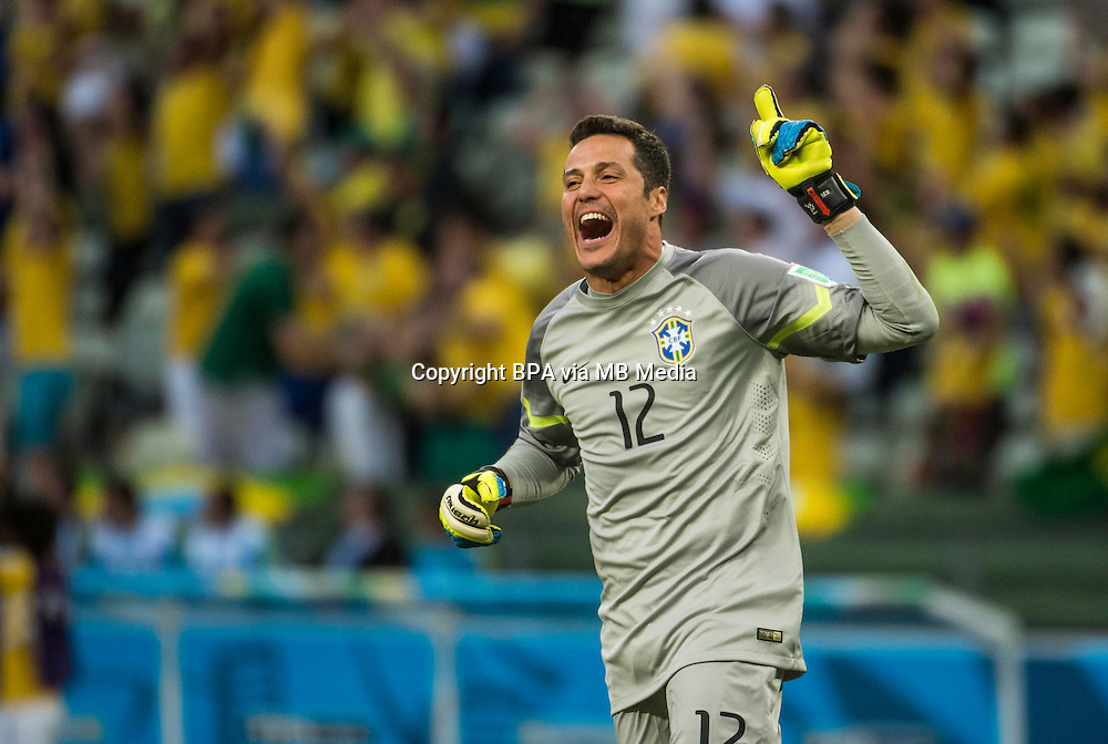 Julio Cesar. Brazil v Colombia, quarter-final. FIFA World Cup Brazil 2014. Castelao stadium, Fortaleza. 4 July 2014.