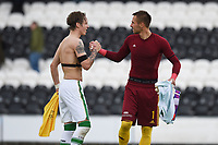 04/07/15 PRE-SEASON FRIENDLY<br /> CELTIC V DUKLA PRAGUE<br /> ST MIRREN PARK - PAISLEY<br /> Celtic's Stefan Johansen shakes hands with Dukla keeper Filip Rada (right) at full-time