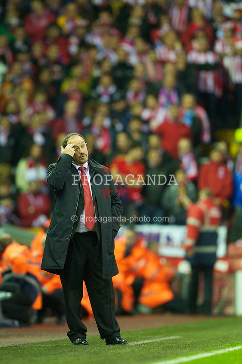 LIVERPOOL, ENGLAND - Thursday, April 29, 2010: Liverpool's manager Rafael Benitez during the UEFA Europa League Semi-Final 2nd Leg match against Club Atletico de Madrid at Anfield. (Photo by: David Rawcliffe/Propaganda)