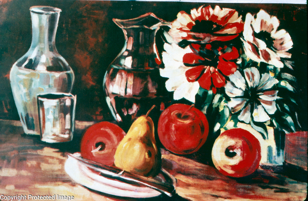 1983<br /> Still life with flowers, fruit and glassware.