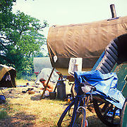 Horse-drawn camp, at Glastonbury, 1989.