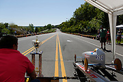 Madeline White, 13, right, leaves the starting gate in her heat at a local soapbox derby race on Lakeshore Boulevard in Irondequoit on Saturday, May 31, 2014. Eighty-two competitors raced in six divisions, with the winner of each division advancing to the world championships in Akron, Ohio.