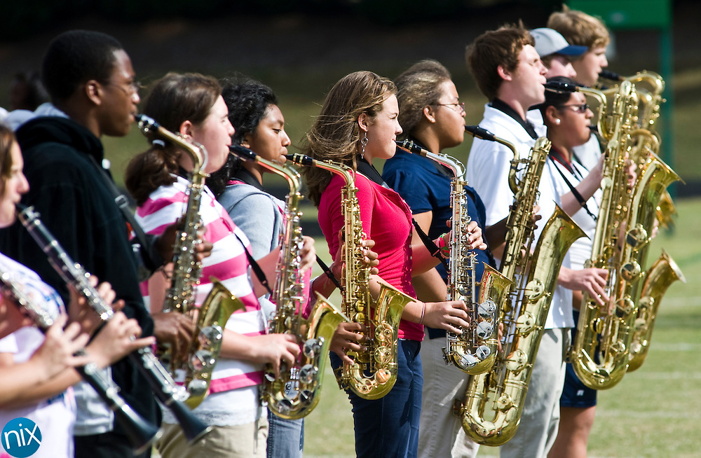 The A.L. Brown Wonders Marching Band during a rehearsal at Kannapolis Memorial Stadium Wednesday afternoon. (Photo by James Nix)