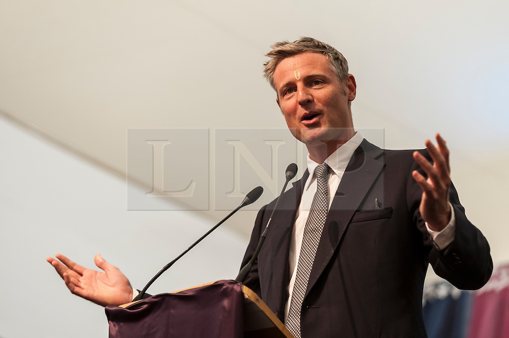 © Licensed to London News Pictures. 05/09/2015. Watford, UK. Zac Goldsmith, MP for Richmond, gives a speech at the biggest Janmashtami festival outside of India at the Bhaktivedanta Manor Hare Krishna Temple in Watford, Hertfordshire.  The event celebrates the birth of Lord Krishna and the festival  includes music, dance, food, dramas and more. Photo credit : Stephen Chung/LNP