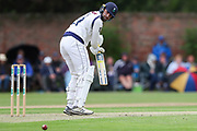 Will Fraine of Yorkshire edges for four runs during the Specsavers County Champ Div 1 match between Yorkshire County Cricket Club and Warwickshire County Cricket Club at York Cricket Club, York, United Kingdom on 17 June 2019.