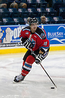 KELOWNA, CANADA - AUGUST 30:  Carter Rigby #11 of the Kelowna Rockets skates with the puck during first period against the Kamloops Blazers on August 30, 2014 during pre-season at Prospera Place in Kelowna, British Columbia, Canada.   (Photo by Marissa Baecker/Shoot the Breeze)  *** Local Caption *** Carter Rigby;