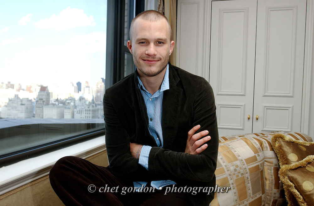 The late actor Heath Ledger photographed at the Essex House Hotel on Manhattan's Central Park South, on Sunday, August 25, 2002.