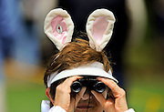 Carol Fabish watches action on the sixth green wearing her favorite bunny ears for the Easter holiday during the final round of the RBC Heritage golf tournament in Hilton Head Island, S.C., Sunday, April 20, 2014. (AP Photo/Stephen B. Morton)