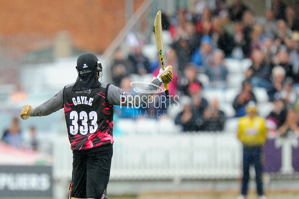 50 for Chris Gale - Somerset's Chris Gayle celebrates scoring his half century during the NatWest T20 Blast South Group match between Somerset County Cricket Club and Hampshire County Cricket Club at the Cooper Associates County Ground, Taunton, United Kingdom on 19 June 2016. Photo by Graham Hunt.