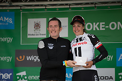 Lucinda Brand (NED) of Team Sunweb receives the most active rider's prize after Stage 2 of the OVO Energy Women's Tour - a 144.5 road race, starting and finishing in Stoke-on-Trent on June 8, 2017, in Staffordshire, United Kingdom. (Photo by Balint Hamvas/Velofocus.com)