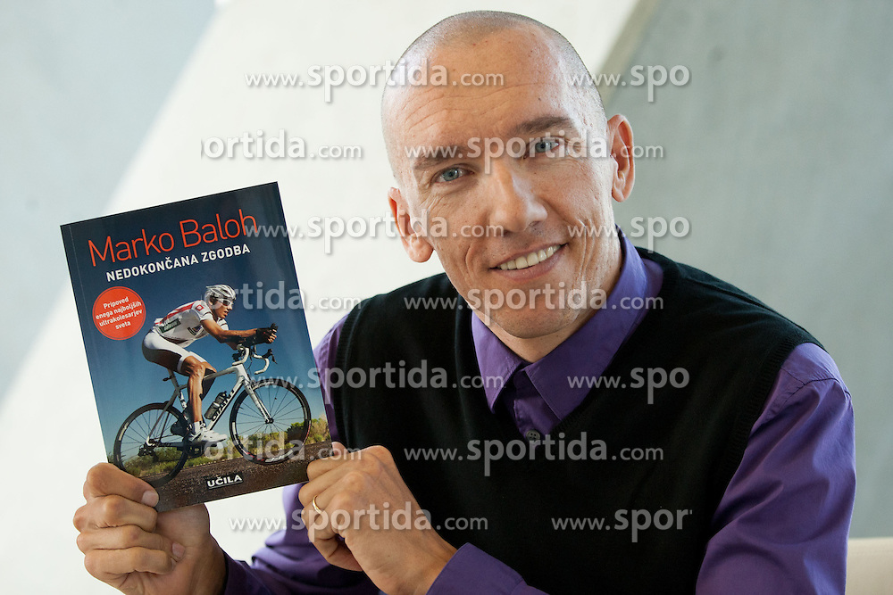 Marko Baloh, Slovenian ultra-cycling rider during press conference when he published his first book Nedokoncana zgodba by Ucila publisher on October 9, 2012 in Kristalna palaca, Ljubljana, Slovenia. (Photo By Vid Ponikvar / Sportida)