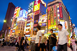 Brght lights in Shinjuku nightlife district in Tokyo
