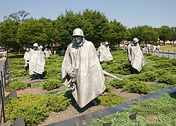Washington DC; USA: The Korean War Veterans Memorial.  The statues of soldiers in a platoon march warily across a field..Photo copyright Lee Foster Photo # 9-washdc83222