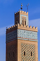 Morocco. The Kasbah Mosque is located in the southern part of Marrakech medina in the area known as Kasbah.