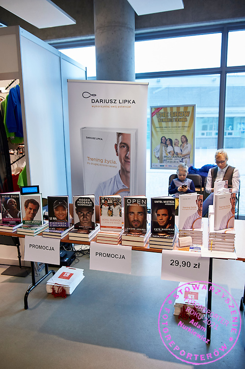 GDANSK, POLAND - 2016 MARCH 06: Dariusz Lipka Bookstore commercial stand during the Davis Cup / World Group 1st round tennis match between Poland and Argentina at Ergo Arena on March 6, 2016 in Gdansk, Poland<br /> <br /> Picture also available in RAW (NEF) or TIFF format on special request.<br /> <br /> Any editorial, commercial or promotional use requires written permission.<br /> <br /> Mandatory credit:<br /> Photo by &copy; Adam Nurkiewicz / Mediasport
