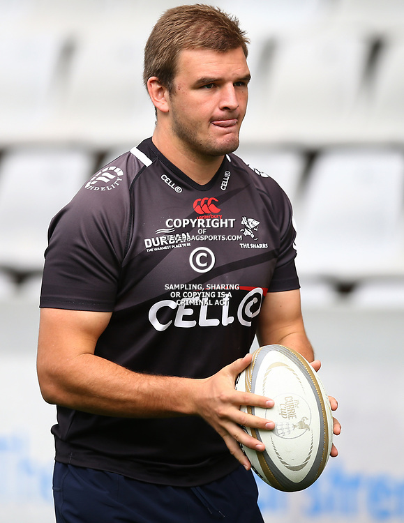 Tyler Paul during The Cell C Sharks captain's run at Growthpoint Kings Park in Durban, South Africa. 3rd August 2017(Photo by Steve Haag)<br /> <br /> images for social media must have consent from Steve Haag