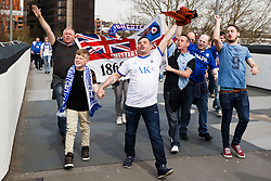 *CAPTION CORRECTION* - Chesterfield supporters make their way up Olympic Way to the game - Photo mandatory by-line: Rogan Thomson/JMP - 07966 386802 - 30/03/2014 - SPORT - FOOTBALL - Wembley Stadium, London - Chesterfield FC v Peterborough United - Johnstone's Paint Trophy Final.
