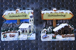 30.01.2013, Schladming, AUT, FIS Weltmeisterschaften Ski Alpin, Schladming 2013, Vorberichte, im Bild Schladming-Symbole in einem Schaufenster am 30.01.2013 // Schladming-buttons in a shop window on 2013/01/30, preview to the FIS Alpine World Ski Championships 2013 at Schladming, Austria on 2013/01/30. EXPA Pictures © 2013, PhotoCredit: EXPA/ Martin Huber