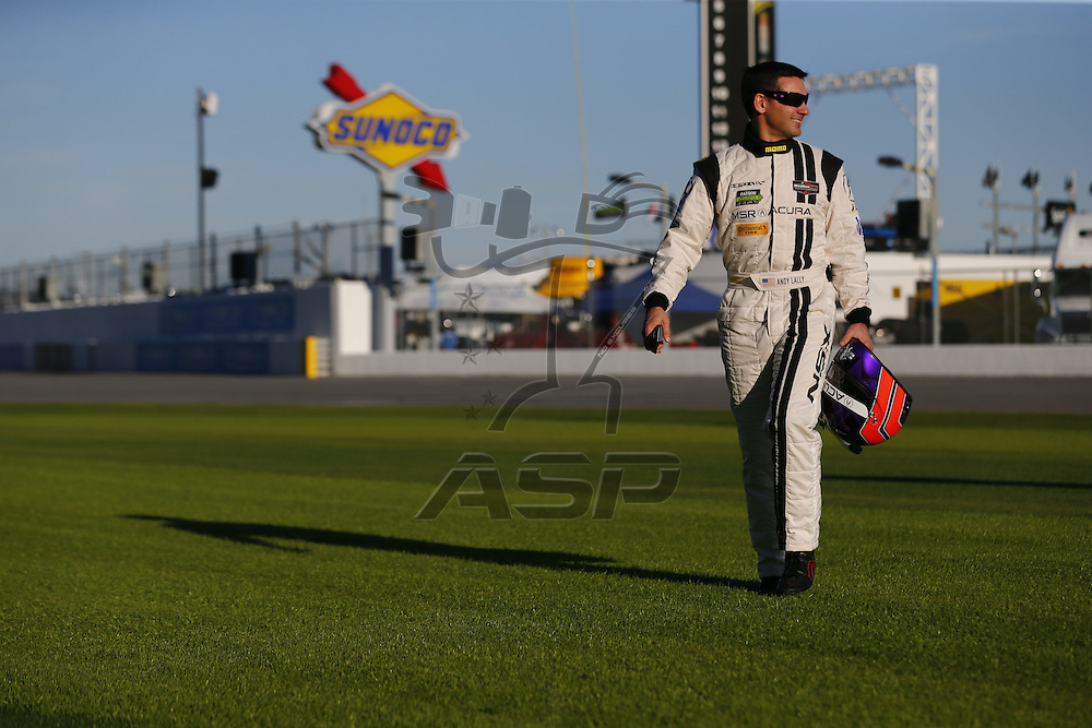 January 05, 2017 - Daytona Beach, Florida, USA:  IMSA drivers, Ryan Dayziel, Lawson Aschenbach, Andy Lally, Ozz Negri, and Joao Barbosa, pose for pictures before the start of the Roar Before The Rolex 24 at Daytona International Speedway in Daytona Beach, Florida.