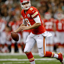 Aug 9, 2013; New Orleans, LA, USA; Kansas City Chiefs quarterback Tyler Bray (9)  against the New Orleans Saints during a preseason game at the Mercedes-Benz Superdome. The Saints defeated the Chiefs 17-13. Mandatory Credit: Derick E. Hingle-USA TODAY Sports