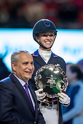 GRAVES Laura (USA), DE VOS Ingmar (FEI President)<br /> Göteborg - Gothenburg Horse Show 2019 <br /> FEI Dressage World Cup™ Final II<br /> Grand Prix Freestyle/Kür - Prix giving ceremony/Siegerehrung<br /> Longines FEI Jumping World Cup™ Final and FEI Dressage World Cup™ Final<br /> 06. April 2019<br /> © www.sportfotos-lafrentz.de/Stefan Lafrentz