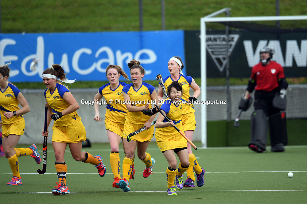 Souther players celebrate the goal scored by Ellie Duncan during the Women's NHL match between Auckland vs Southern, National Hockey Stadium, Sunday 17th September 2017. Copyright Photo: Raghavan Venugopal / © www.Photosport.nz 2017