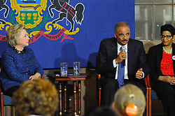 Democratic presidential candidate HILLARY CLINTON, former Attorney General ERIC HOLDER discuss gun violence at a April 20, 2016 meeting with Mothers of the Movement at St. Paul's Baptist Church in Philadelphia, Pennsylvania