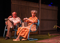 "Ray Dudley (Joe Keller) and Barbara Webb (Kate Keller) during dress rehearsal Wednesday evening for ""All My Sons"" with the Winnipesaukee Playhouse.  (Karen Bobotas/for the Laconia Daily Sun)"