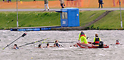 Nottingham, Great Britain, ENGLAND,   Rescue  boat moves in to help Bedford Modern School first eight, sink during the morning processional race, at the 2008 National Schools Regatta, Holme Pierrepont,  Saturday,  24/05/2008.  [Mandatory Credit:  Peter Spurrier/Intersport Images]