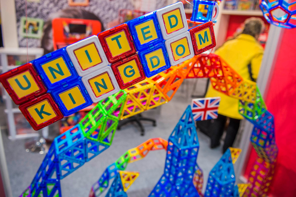 The Magformers stand - The London Toy Fair opens at Olympia exhibition centre. Organised by the British Toy and Hobby Association it is the only dedicated toy, game and hobby trade exhibition in the UK. It runs for three days, with more than 240 exhibiting companies ranging from the large internationals to the new start up companies.