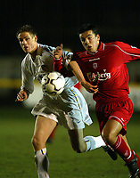 Fotball: Liverpool new £3.6m signing, Czech Republic international, Milan Baros in action against Leeds Matthew Kilagllon during the Reserve match at Haigh Avenue, Southport. 150102<br />
