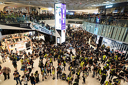 Tuen Mun, Hong Kong. 22 September 2019. Pro democracy demonstration and march through Tuen Mun in Hong Kong. Marchers protesting against harassment by sections of the pro Beijing community. Largely peaceful march had several violent incidents with police using teargas. Several arrests were made. Pictured; Protest in YoHo Mall in Yuen Long.  Iain Masterton Live News.