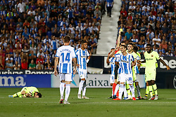 September 26, 2018 - Perez of Leganes see the Yellow card during the La Liga (Spanish Championship) football match between CD Leganes and FC Barcelona on September 26th, 2018 at Municipal Butarque stadium in Madrid, Spain. (Credit Image: © AFP7 via ZUMA Wire)