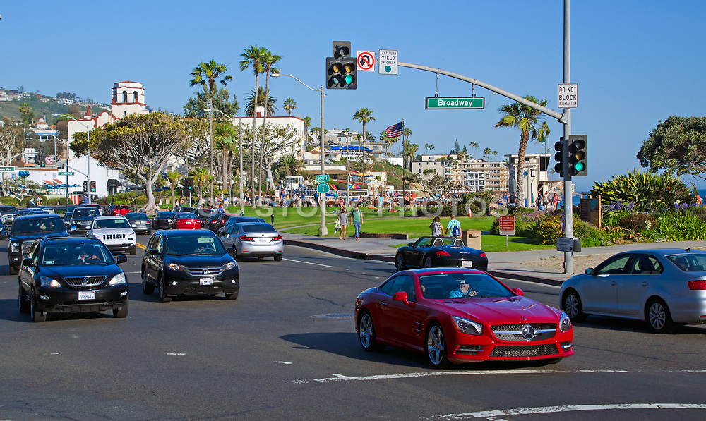 Laguna Beach at the Intersection of Pacific Coast Highway and Broadway