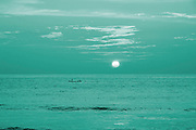 surrealistic sunset on beach