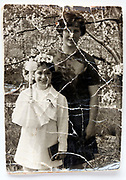 surface cracked image of young girl celebration her holy communion 1960s Germany
