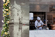 An image of the Belem Tower in Lisbon and the window of a cake and pastry business in which a baker rinses a heavy pan, on 22nd May 2019, in London, England