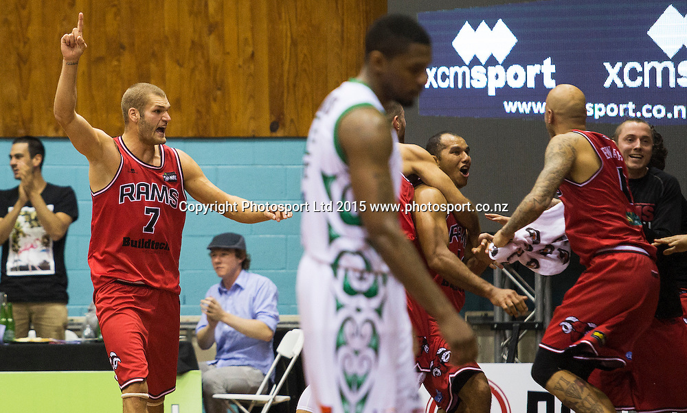 Marques Whippy of the Rams and Kyle Coston celebrate the final shot during the National Basketball League game between the Canterbury Rams v Manawatu Jets at Cowles Stadium in Christchurch. 10th April 2015 Photo: Joseph Johnson/www.photosport.co.nz