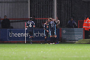 Bury celebrate the opening goal   during the EFL Sky Bet League 2 match between Cheltenham Town and Bury at LCI Rail Stadium, Cheltenham, England on 5 March 2019.