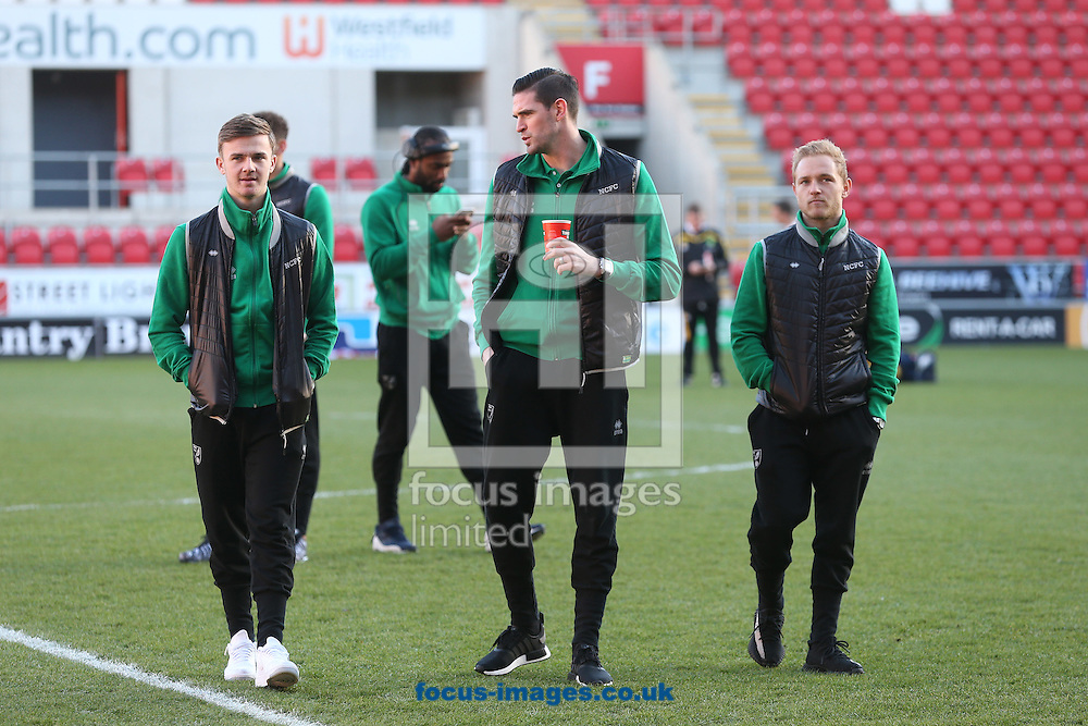 James Maddison of Norwich, Kyle Lafferty of Norwich and Alex Pritchard of Norwich before the Sky Bet Championship match at the AESSEAL New York Stadium, Rotherham<br /> Picture by Paul Chesterton/Focus Images Ltd +44 7904 640267<br /> 14/01/2017