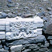 Late Summer? 1965<br /> Elaborate fragment of decorated marble pirated from older Muslim or Hindu structures, used here in wall around modern Muslim graves.