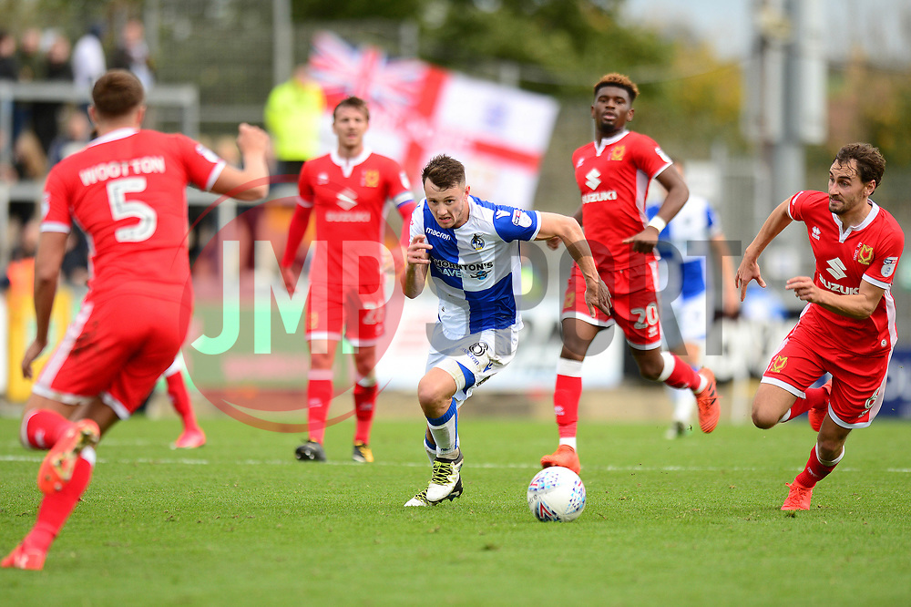 Ollie Clarke of Bristol Rovers is surrounded by Milton Keynes Dons players - Mandatory by-line: Dougie Allward/JMP - 28/10/2017 - FOOTBALL - Memorial Stadium - Bristol, England - Bristol Rovers v Milton Keynes Dons - Sky Bet League One